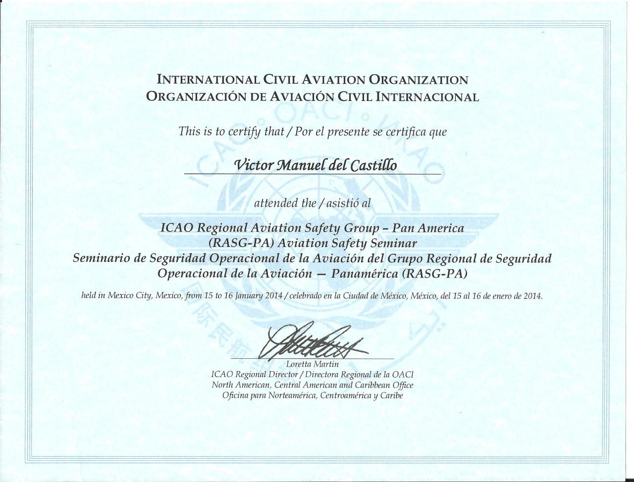 Nuestro especialista se ha actualizado con otro curso sobre Seguridad Operacional impartido por OACI, RASG-PA hace unos días.